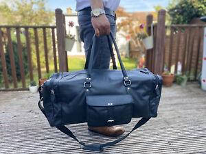 Leather Weekend Bag Genuine Travel Duffle Gym Holdall Luggage Black Bag
