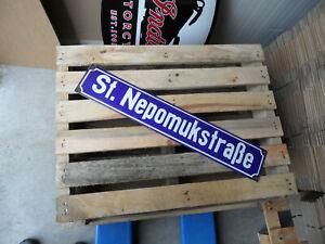 Vintage East Germany DDR St. Nepomukstrasse - Enamel Porcelain Metal Street Sign