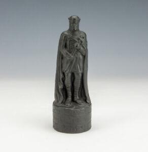 Vintage Black Basalt Pottery - Beneagles - Knight Chess Piece Whisky Bottle