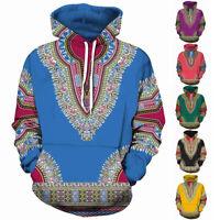African Dashiki Men's Women's Traditional Hoodie Jacket Shirt Hipppie Boho S-5XL