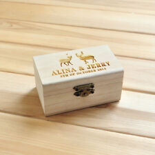 Personalized wedding ring box, Custom ring bearer box, Rustic Wooden box engrave