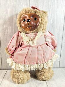 """Robert Raikes wooden face teddy bear with pink dress 12.5"""""""
