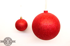 """1 LARGE SHINY 5"""" RED GLITTER CHRISTMAS BALLS OUTDOOR ORNAMENTS GLITTERED 140MM"""