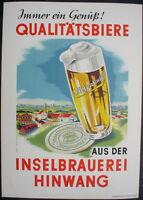 Bier Werbepappe Insel - Brauerei Hingwang Illerparadies im Druck signiert