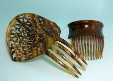 "Pair Vintage Faux Tortoise Shell Hair Combs One Large Ornate 4 5/8"" & 1 Medium"