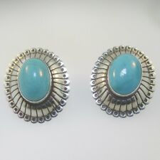 Sterling Silver Q.T. Quoc Turquoise Oval Earrings