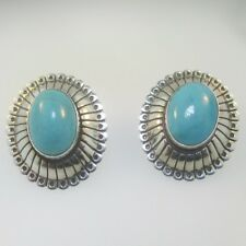 Turquoise Oval Earrings Sterling Silver Q.T. Quoc