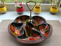 VTG Mid Century Modern Calif Pottery USA Sequoia Ware Tidbit Tray with Handle