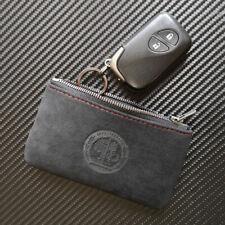 1X AMG Logo Matte Leather Key Bag Wallet Key Case Cover Holder for Mercedes Benz