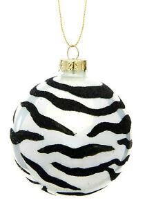 Set of four Glitter Zebra Print Safari Glass Christmas Bauble Decoration 8cm B&W