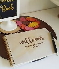 NEW Personalised Engraved  Wedding Wooden Guest Book with Wire Binding