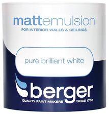 Berger 1 Litre Brilliant White Matt Emulsion Paint Interior Walls And Ceilings
