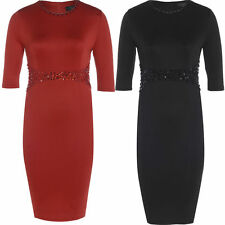 Women's Polyester 3/4 Sleeve Plus Size Stretch, Bodycon Dresses