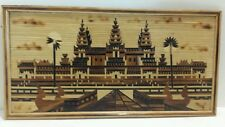 INLAID BAMBOO WOOD PIECED STRIPS OASIS PALACE SCENERY 15X8 PICTURE ART