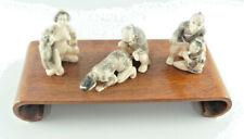 Set Of 3 Erotic Chinese Netsuke Bone Couples Figures Signed Art Display Stand!