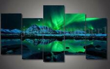 Wall Painting Green Blue Modern Aurora Borealis Art Picture Canvas Print