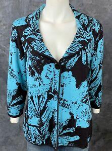 Chicos Silk & Cotton Blend Blue & Black Cardigan Sweater Jacket sz 2 M/L (9066)