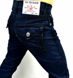 True Religion Men's Ricky Greatest Blue Relaxed Straight Ropestitch Jeans 103723