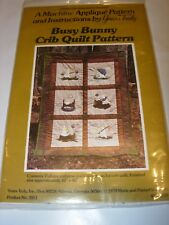 QUILTING SEWING PATTERN FABRIC CRAFTS PROJECT APPLIQUE BUNNY CRIB QUILT 42X60