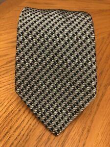 LNWOT Sulka Thick/Heavy Silk Tie France Green & Blue Striped Geometric Design
