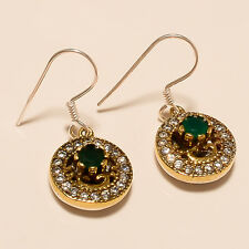 925 Sterling Silver Gold Filled Emerald Earring Women Vintage Old Ring Jewelry