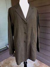Brown Button-Down Lightweight Jacket Silk Linen Sz 12 DANA BUCHMAN Vintage 1990s
