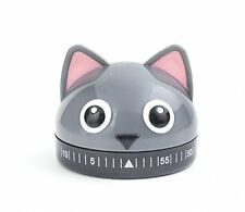 kikkerland Gray/Grey KITTY CAT 60 MIN Wind up Kitchen Timer KT44 no batteries