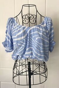 Cartel and Willow Boho Top Blue an White Waves Small