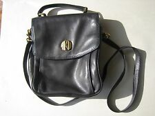 VTG Anne Klein II Black Soft Leather Messenger Cross body Shoulder Bag Purse