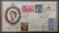 New Zealand 1953 Illustrated Coronation Cover to UK - Special PMK's
