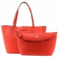 Guess Women's Bobbi Inside-Out Tomato Multi Pebble Reversible Tote Handbag Set