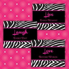 Zebra Print LIVE LAUGH LOVE 8x10 Home Decor or Bathroom Wall Art Prints