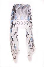 Cyan/ White/black Ladies Aztec Inspired Triangle Pattern Statement Scarf (S5)