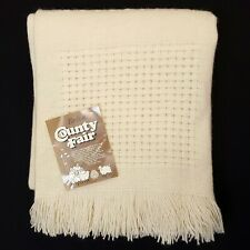 Faribo Throw Blanket Wool Cream Ivory Vintage NEW Waffle Knit County Fair 47x54