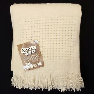 Faribo Wool Blanket Throw Vintage NEW Waffle Weave 54x47 Cottagecore Ivory Gift
