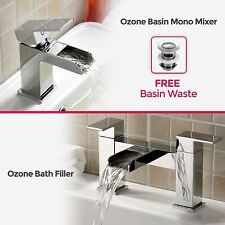 OZONE SQUARE WATERFALL CHROME BATHROOM TAP SET - BASIN MONO & BATH FILLER MIXER