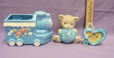 Blue Ceramic Childs Room Teddy Bear Train Decor Planter Sept Sapphire Bank Frame