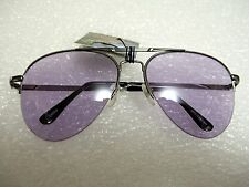 CLASSIC AVIATOR SUNGLASSES PURPLE COLOR TINTED LENS METAL FRAME W/SPRING HINGES