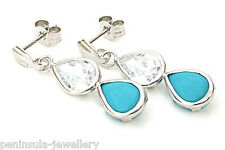 9ct White Gold Turquoise Teardrop earrings Gift Boxed