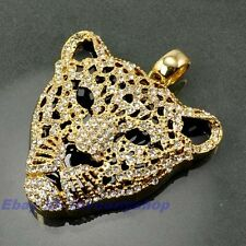"""2.36""""30g FULL CZ LEOPARD HEAD CHARM 18K YELLOW GOLD PLATED SOLID FILL GP PENDANT"""