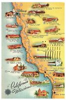 California Missions, Historic El Camino Real Vintage Postcard Posted 1959