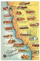 California Missions, Historic El Camino Real Vintage Postcard Posted 1959