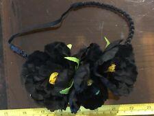 Black Triple Flower Floral Wrap Cute Hair Head Band Alice