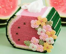 ~ ~ ~ PLASTIC CANVAS **  PATTERN ONLY ~ SLICE OF WATERMELON TISSUE BOX COVER ~ ~
