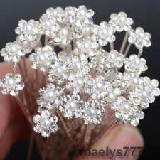 10 épingles à cheveux  fleurs perle strass mariée.accessoire  Mariage soirées.