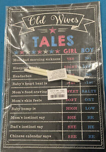 Gender Reveal Party Supplies He or She Poster Old Wives Tales Boy or Girl~NIP