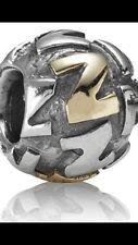 True Authentic Retired PANDORA Twotone INITIAL Z Bead CHARM 790298Z 925 585 ALE
