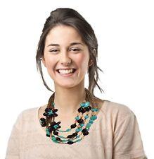 Tori Multi- Strand Statement Bib Necklace - Turquoise, Natural, Brown