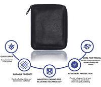 Genuine Leather Zip Around 11 Credit Card 1ID  Hipster Mens Wallet Organizer BLK