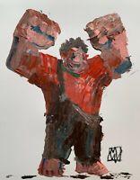 """ORIGINAL Abstract Disney Wreck It Ralph Palette Knife Kids Art Painting 11x14"""""""